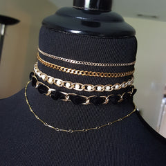 layered gold choker necklaces, chain jewelry