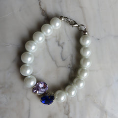 white pearl and crystal hrh collection style bracelet