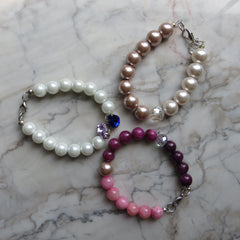 beaded pearl stacking bracelets with crystals