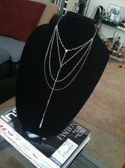 Gold or Silver Long Multi Layer Lariat Necklace