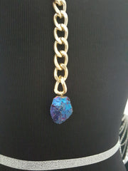 lariat chain necklace with geode titanium rock crystal
