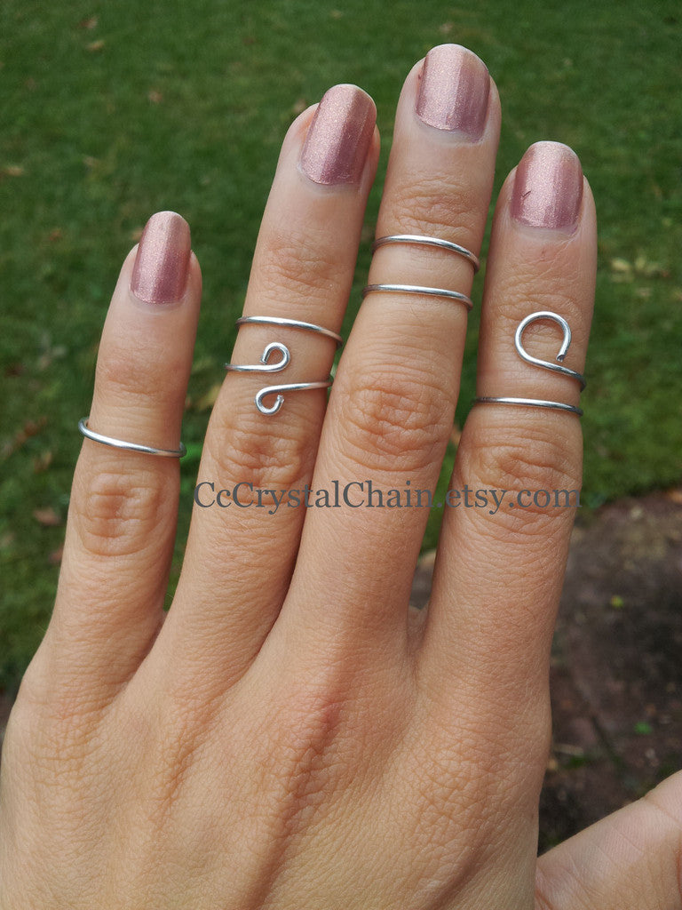 handmade silver wire wrap midi rings set