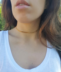 Gold Plate Over Stainless Steel Thin Chain Choker Necklace