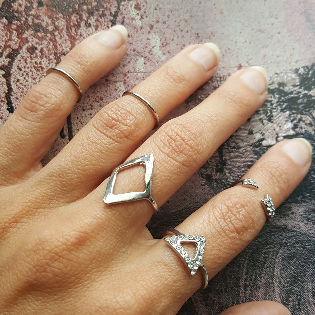 Geometric Style Set of 5 Silver Midi Stacking Rings with Rhinestones