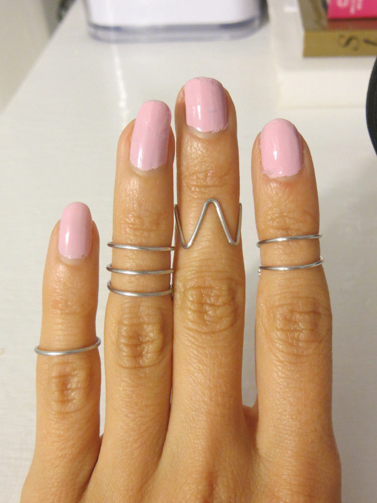silver hand made midi rings