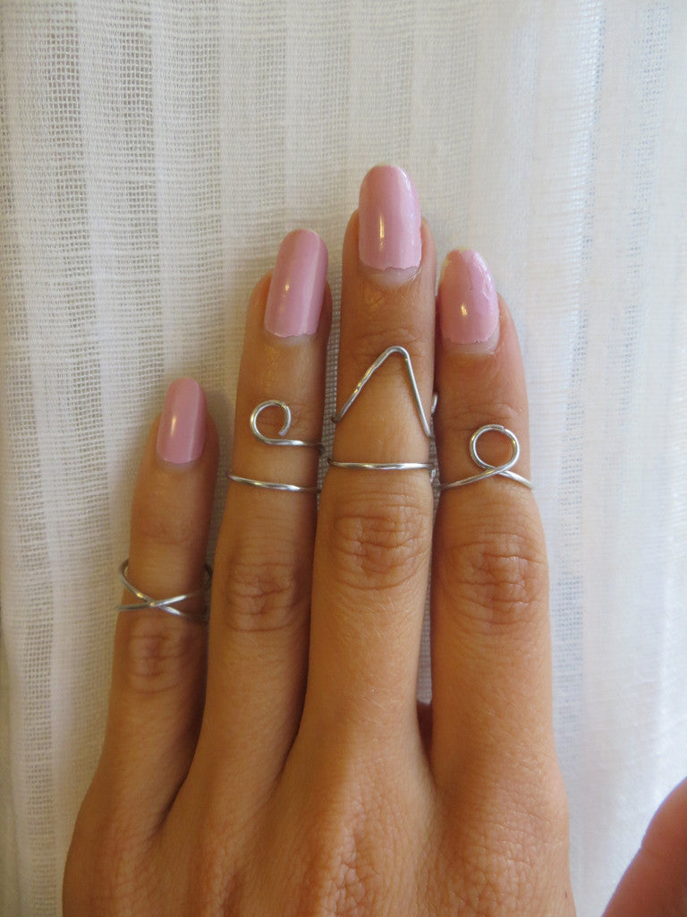 silver wire wrapped midi rings handmade