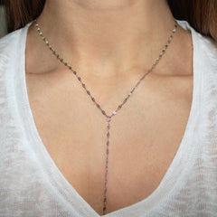 sparkle stainless steel lariat chain necklace hrh style
