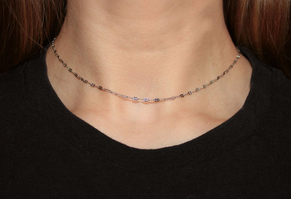 Luna - Base of the Neck Necklace made with Stainless Steel Chain
