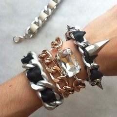 spiked bracelets silver chain and black leather rivet bracelet hrh collection