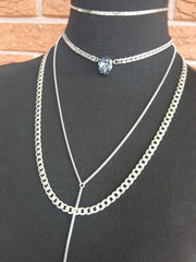 layering stainless steel choker and lariat necklaces