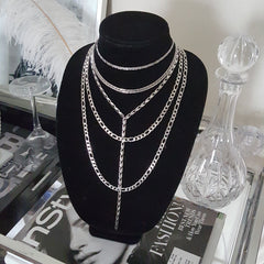 Classic Figaro Long Layering Necklace - Stainless steel chain
