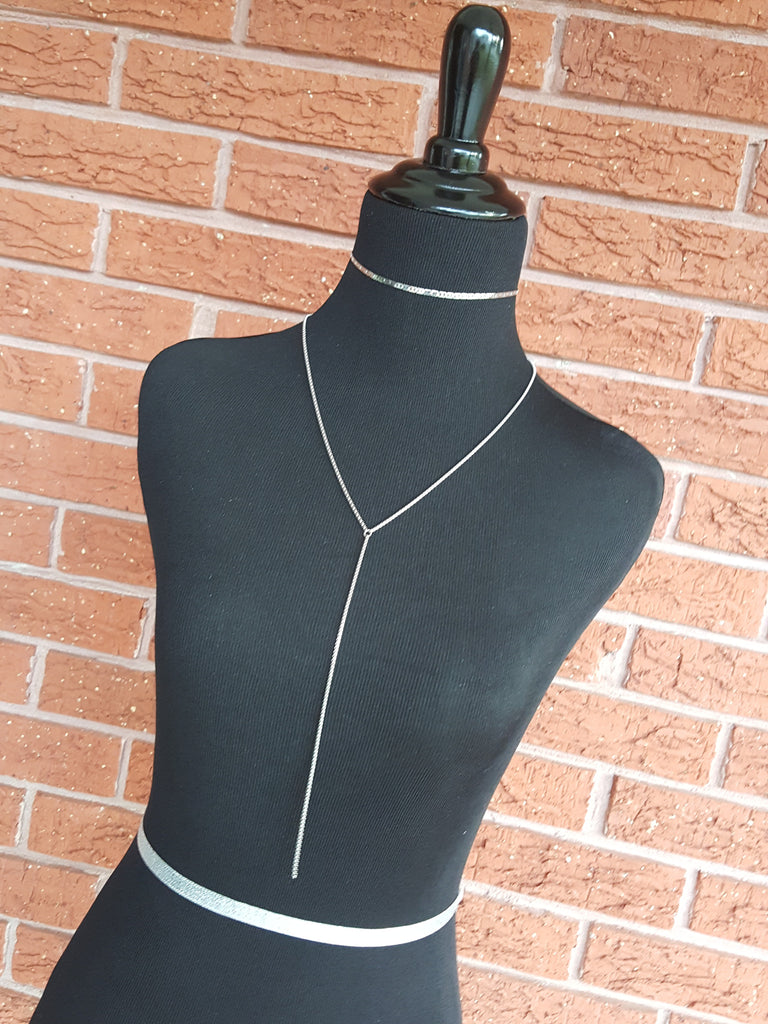 stainless steel t shirt chain lariat necklace hrh style
