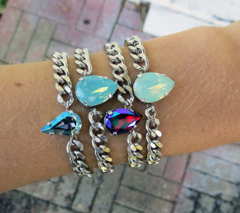 petite opalite swarovski crystal bracelet stack hrh collection