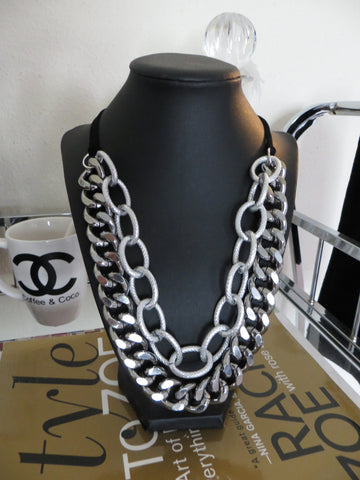 gunmetal and textured silver chain necklace hrh collection
