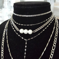 Ultimate Stack - Choker, Pearl and Long Layering Necklaces with Stainless Steel Chain