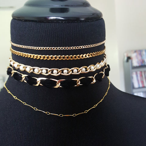 hrh collection style chokers pearl and velvet chain necklaces