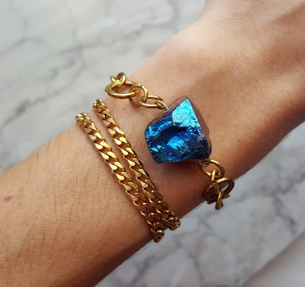 vintage gold chain and titanium quartz crystal bracelet