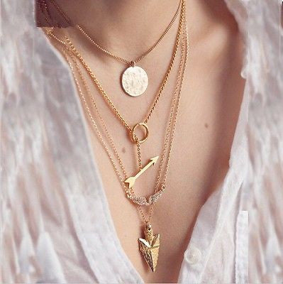 set of 4 gold layering necklace