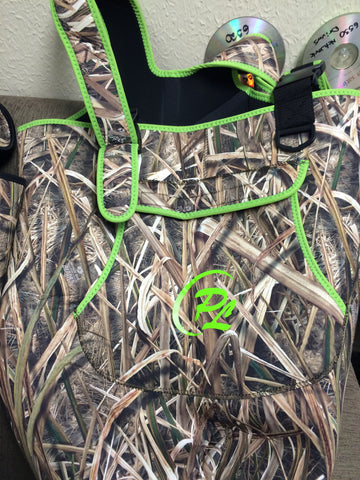 Womans Mossy Oak Shadow Grass Waders with Neon Green Trim