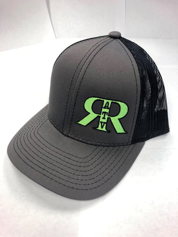 River Run ATV Park Charcoal & Black Platinum Series Snap Back Hat with Neon Green Logo - ProSport Outdoors