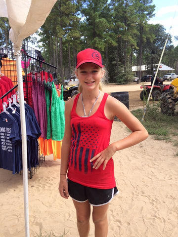 Ladies Red Tank with Blue Flag - ProSport Outdoors