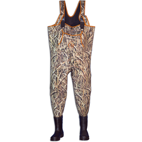 Womans Mossy Oak Shadow Grass Waders with Neon Orange Trim