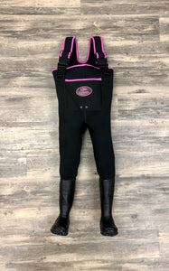 Children's/Youth ProSport Waders in Black with Neon Pink Trim
