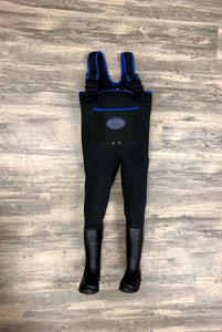 Children's/Youth ProSport Waders in Black with Neon Blue Trim