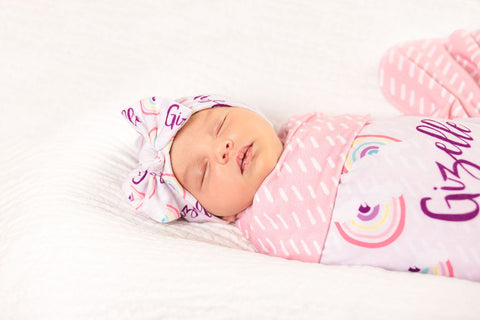 Rainbow Baby Personalized Swaddle