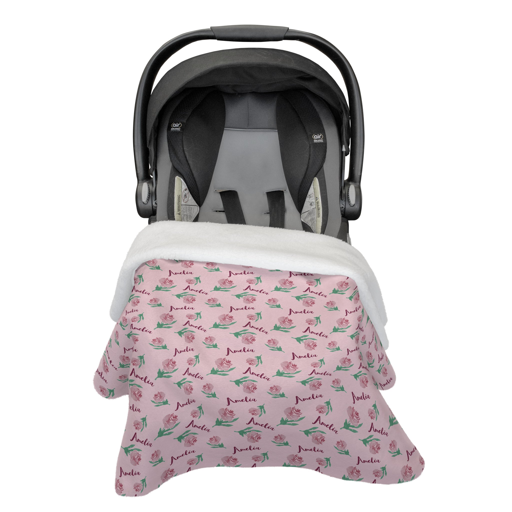 Amelia's Antique Rose | Vintage Violet | Car Seat Blanket