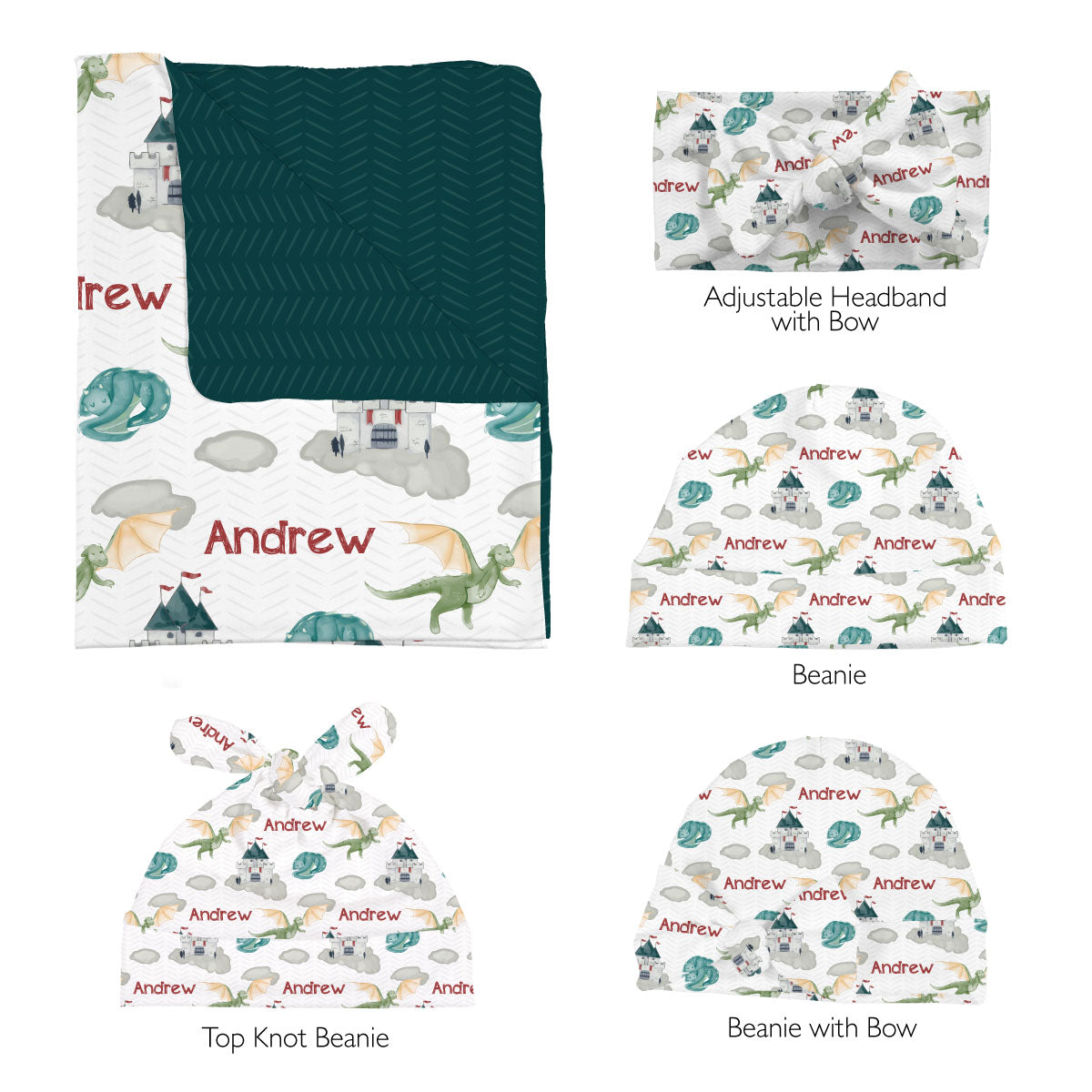 Andrew's Castle and Dragons | Swaddle Set
