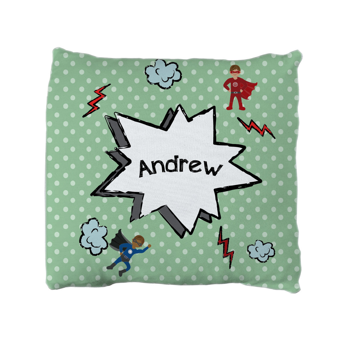 Andrew's Super Heroes | Big Kid Throw Pillow