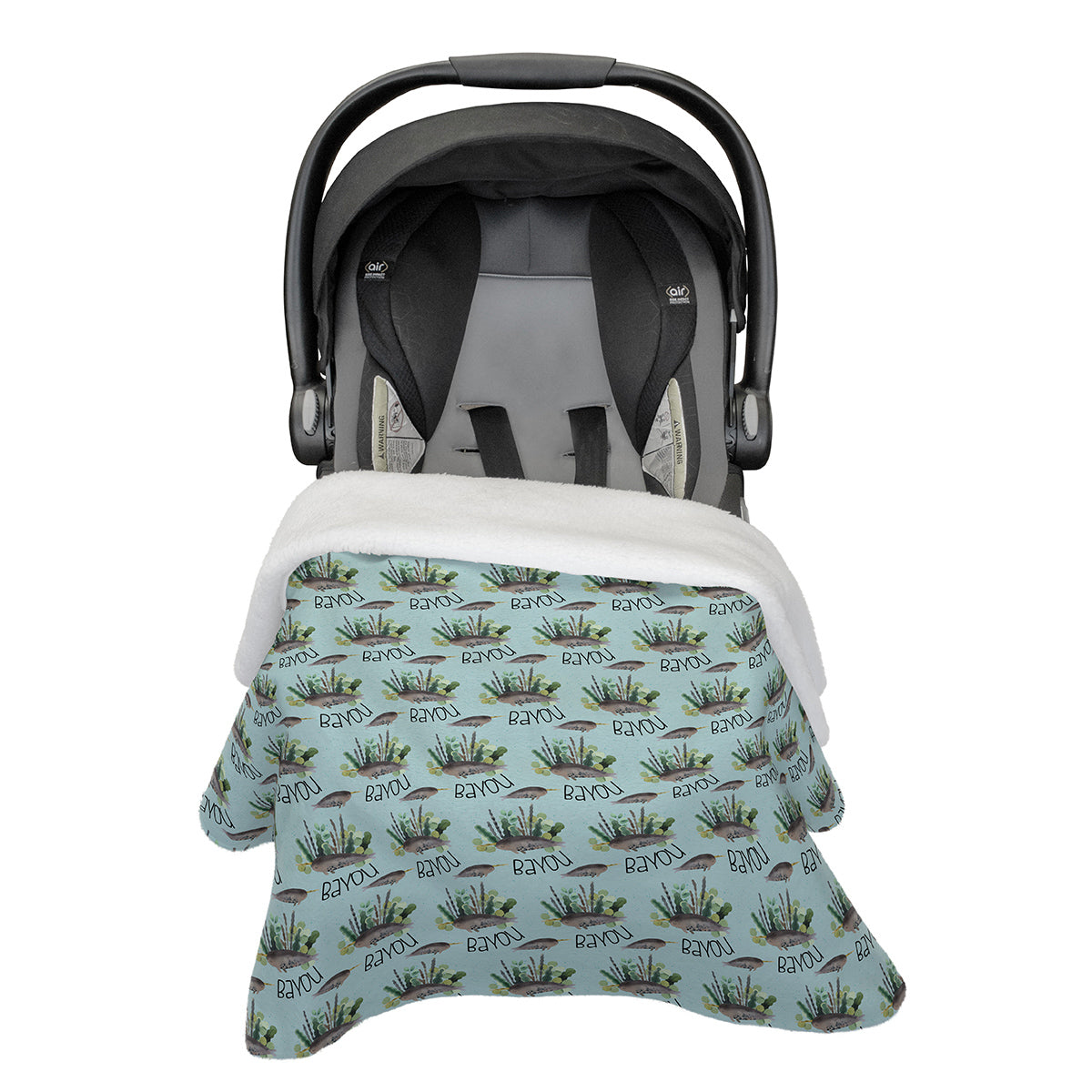 Bayou's Deep Sea Narwhal | Rose Garden | Car Seat Blanket