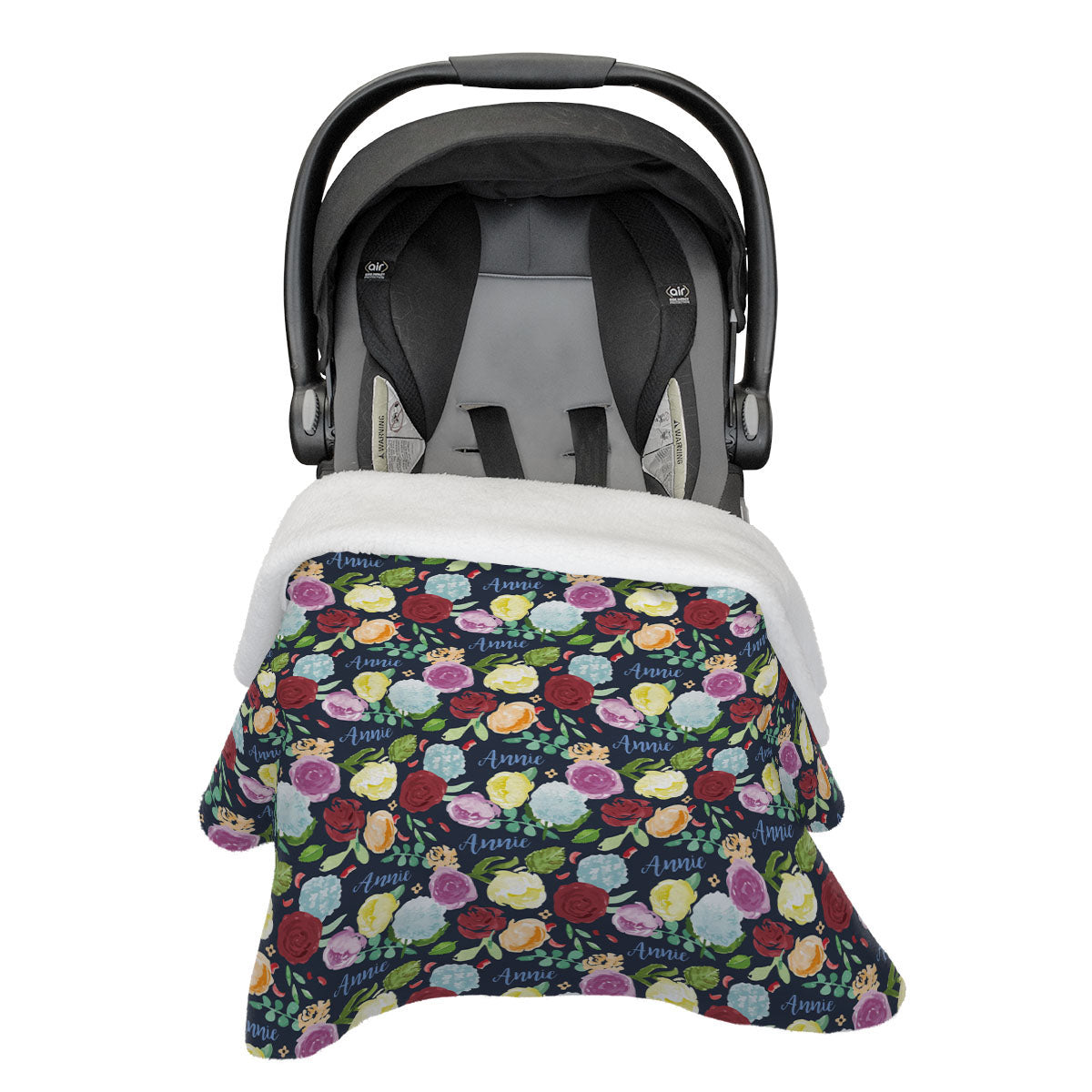 Bella's Painted Peony Rainbow | Rose Garden | Car Seat Blanket