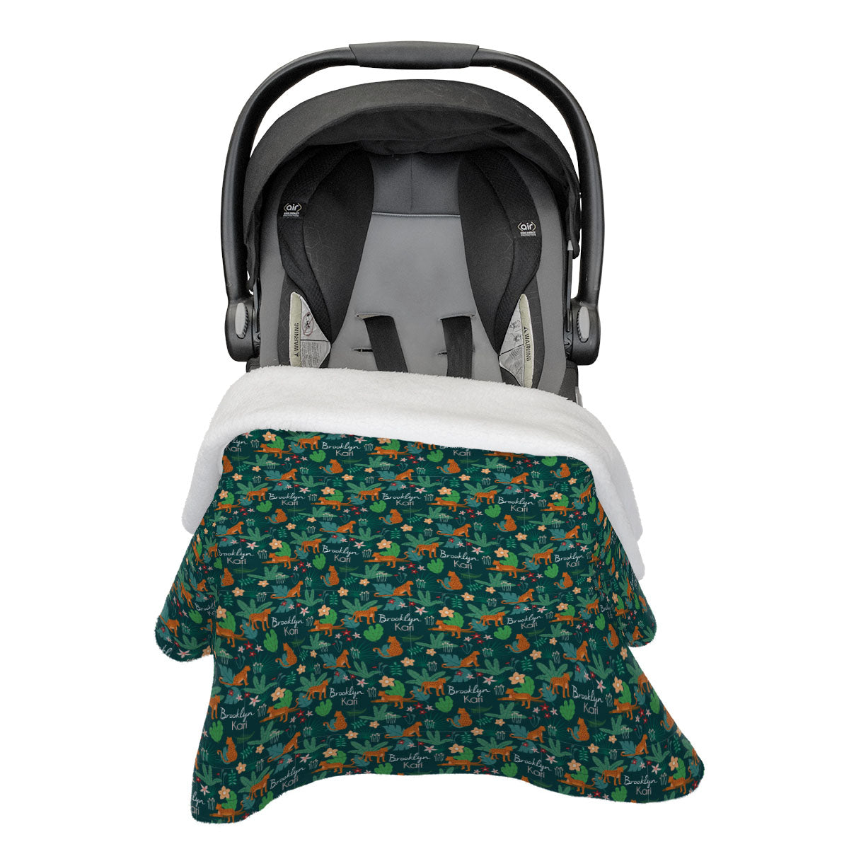 Brooklyn's Jungle Cats | Rose Garden | Car Seat Blanket
