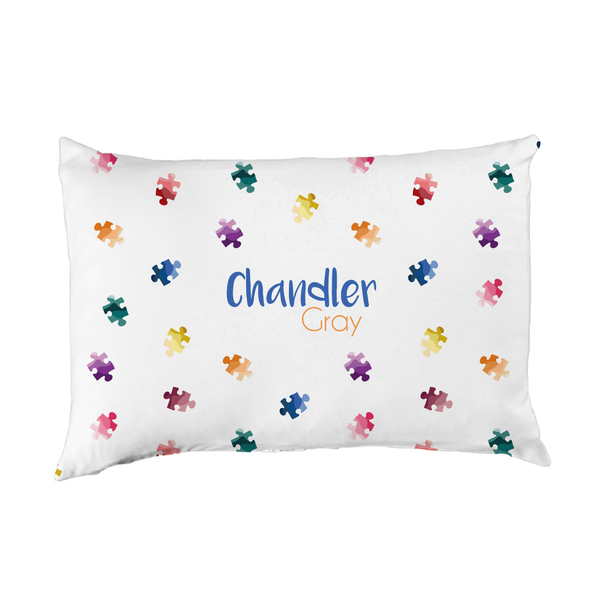 Chandler's Puzzle Piece | Big Kid Pillow Case
