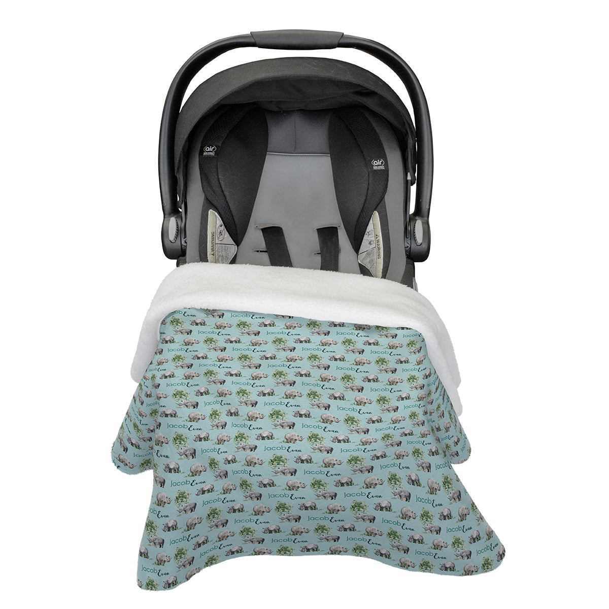 Jacob's Mighty Rhino | Car Seat Blanket