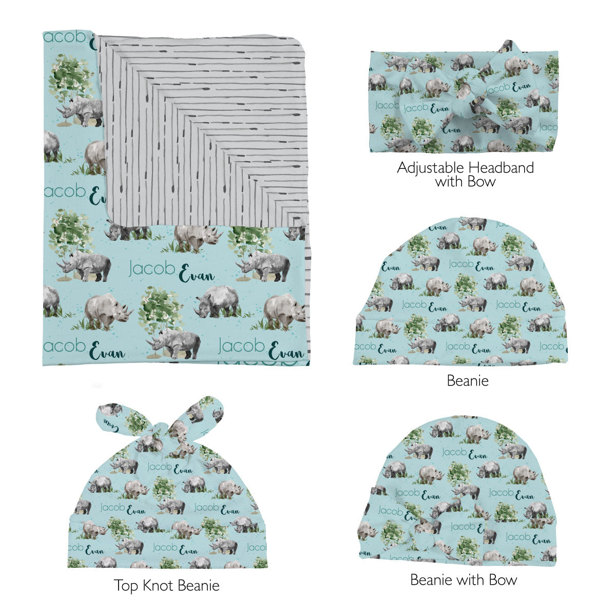 Jacob's Mighty Rhino | Swaddle Set