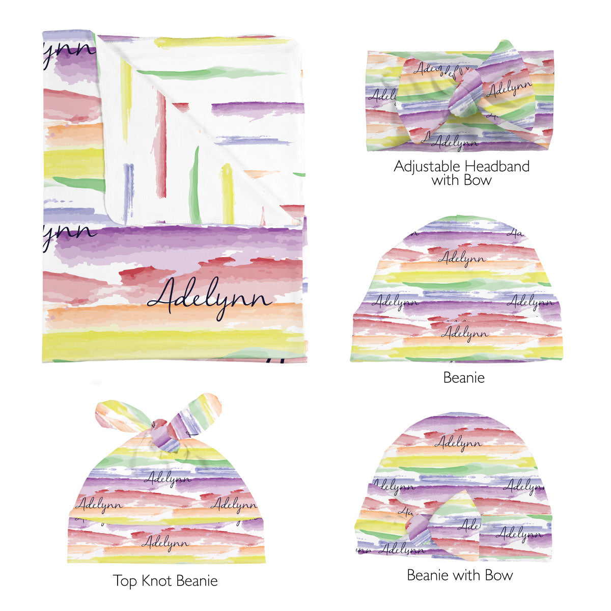 Jayla's watercolor rainbow | Swaddle Set