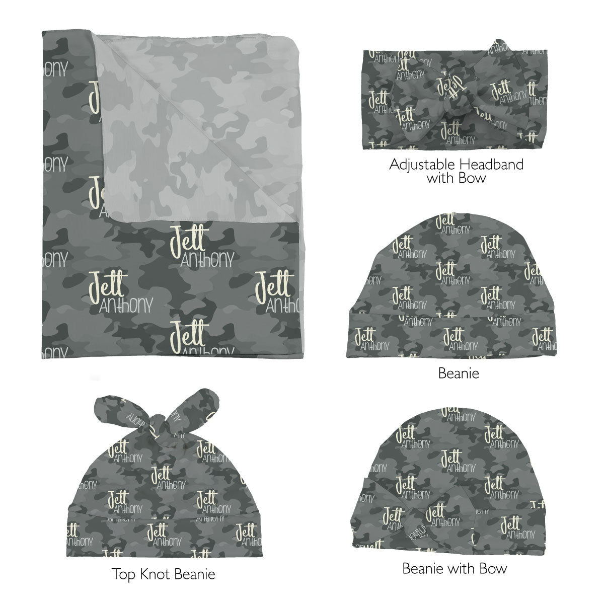 Jett's Graphite Camo | Swaddle Set