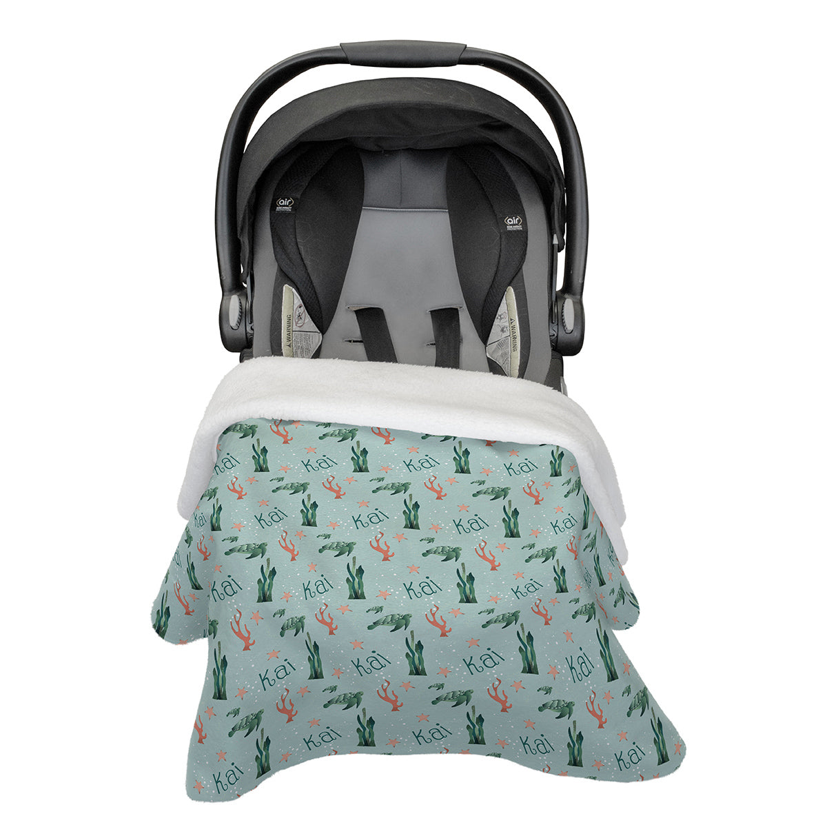 Kai's Serene Sea Turtle | Rose Garden | Car Seat Blanket