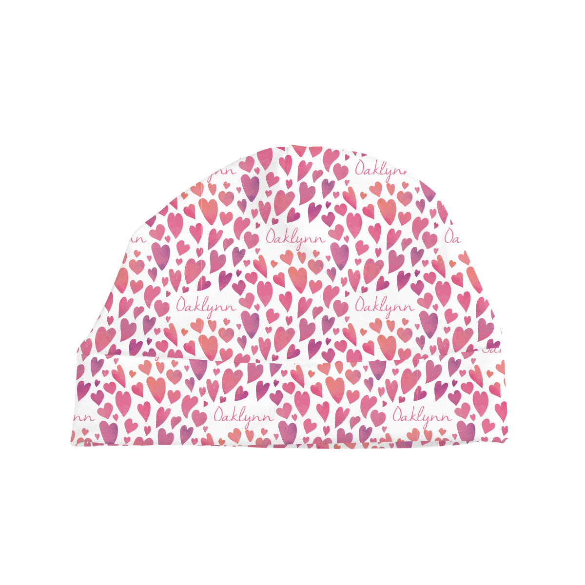 Oaklynn's Watercolor Hearts | Baby Hat