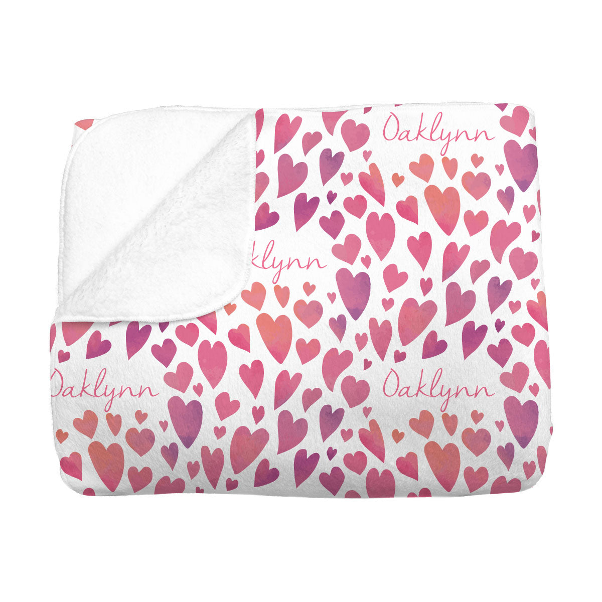 Oaklynn's Watercolor Hearts | Big Kid Blanket