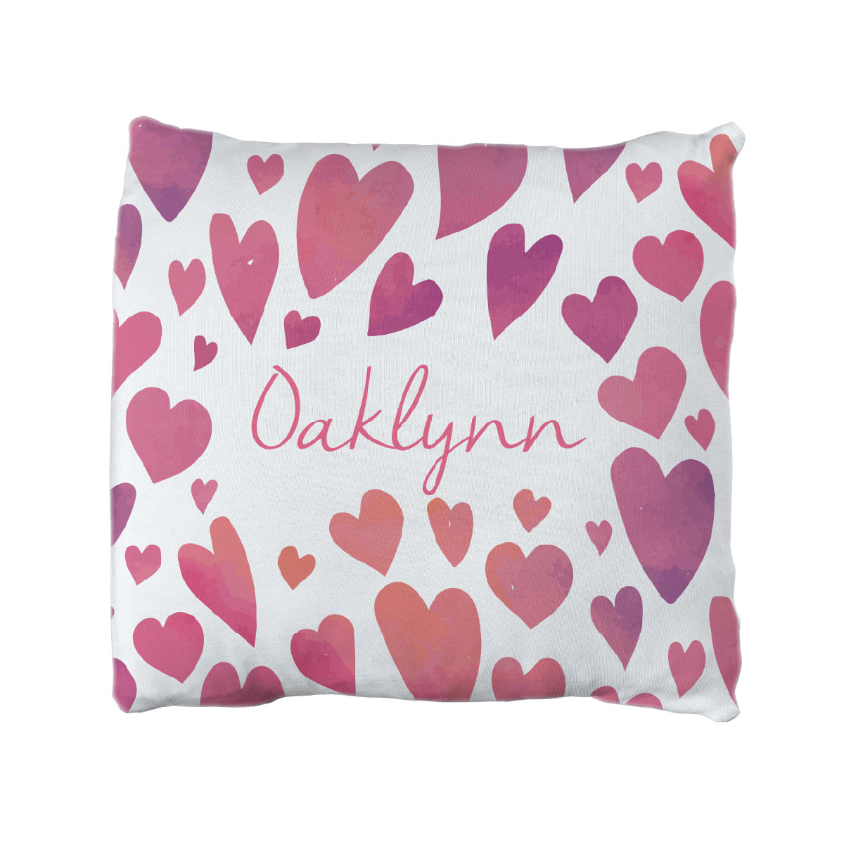 Oaklynn's Watercolor Hearts | Big Kid Throw Pillow