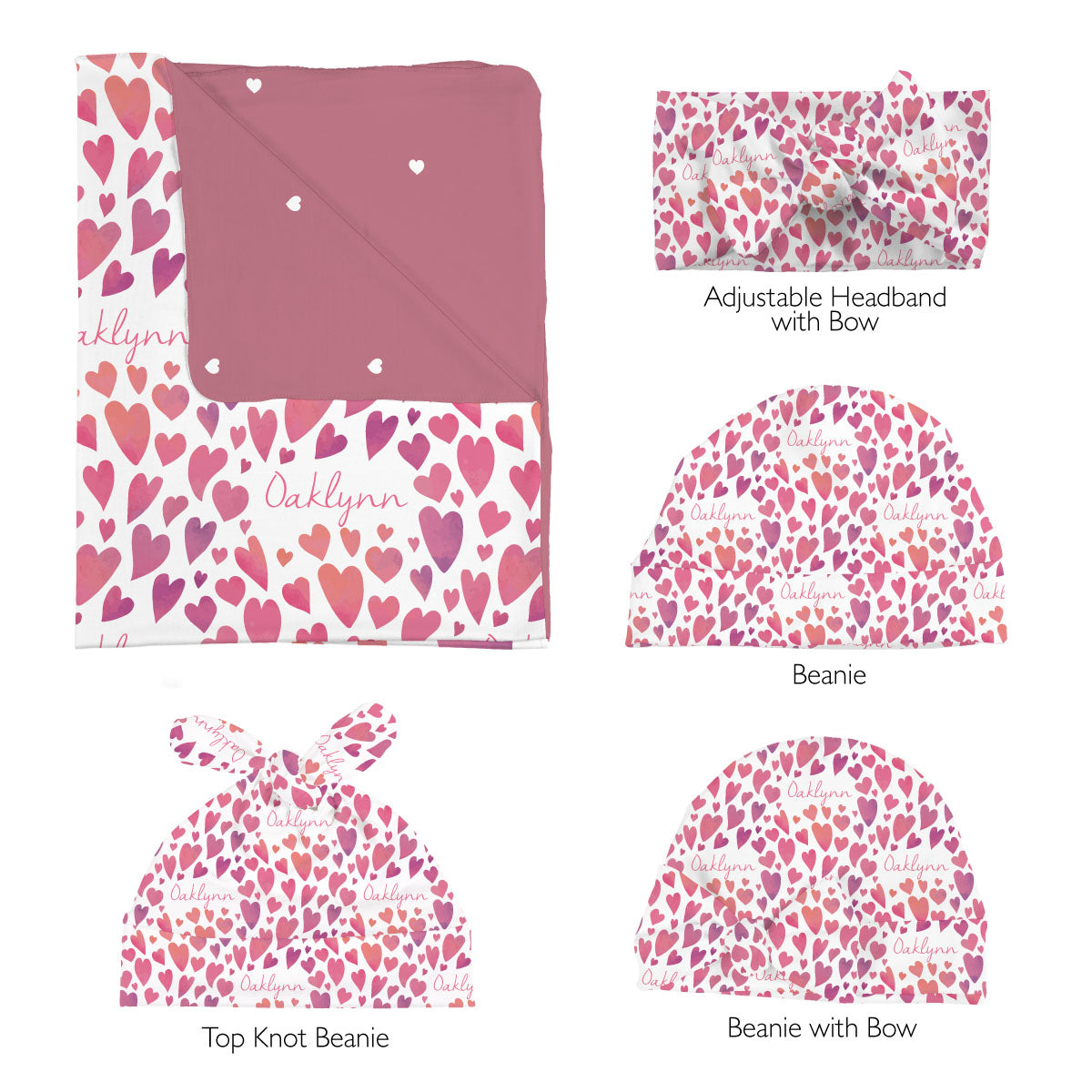 Oaklynn's Watercolor Hearts | Swaddle Set