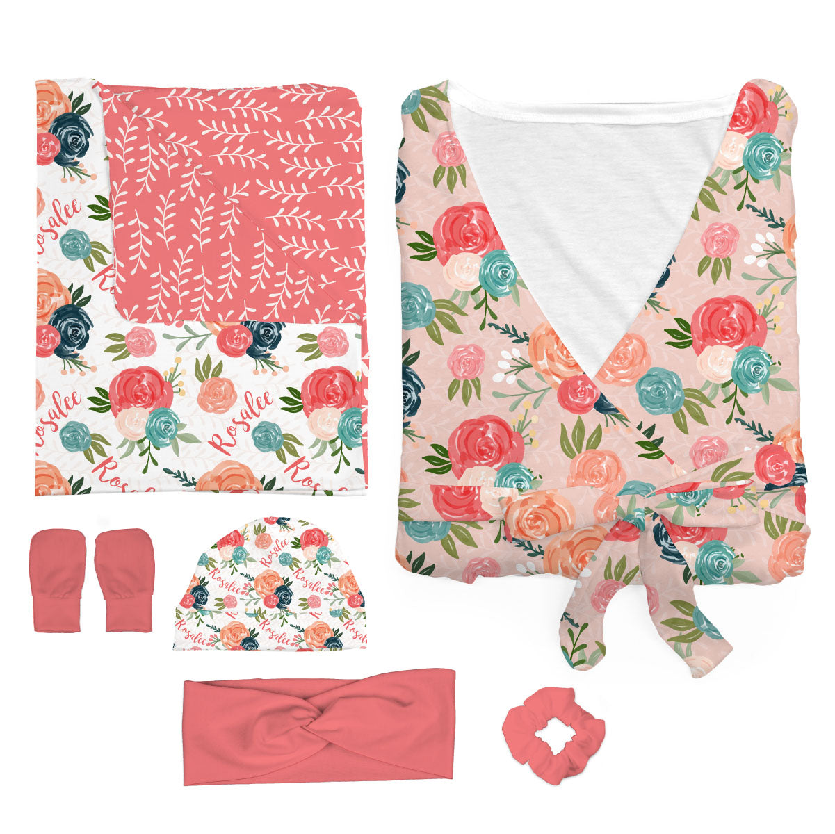 Rosalee's Blush and Blue Floral | Mommy and Me Bundle