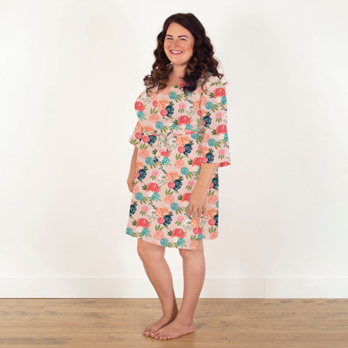 Rosalee's Blush and Blue Floral | Robe
