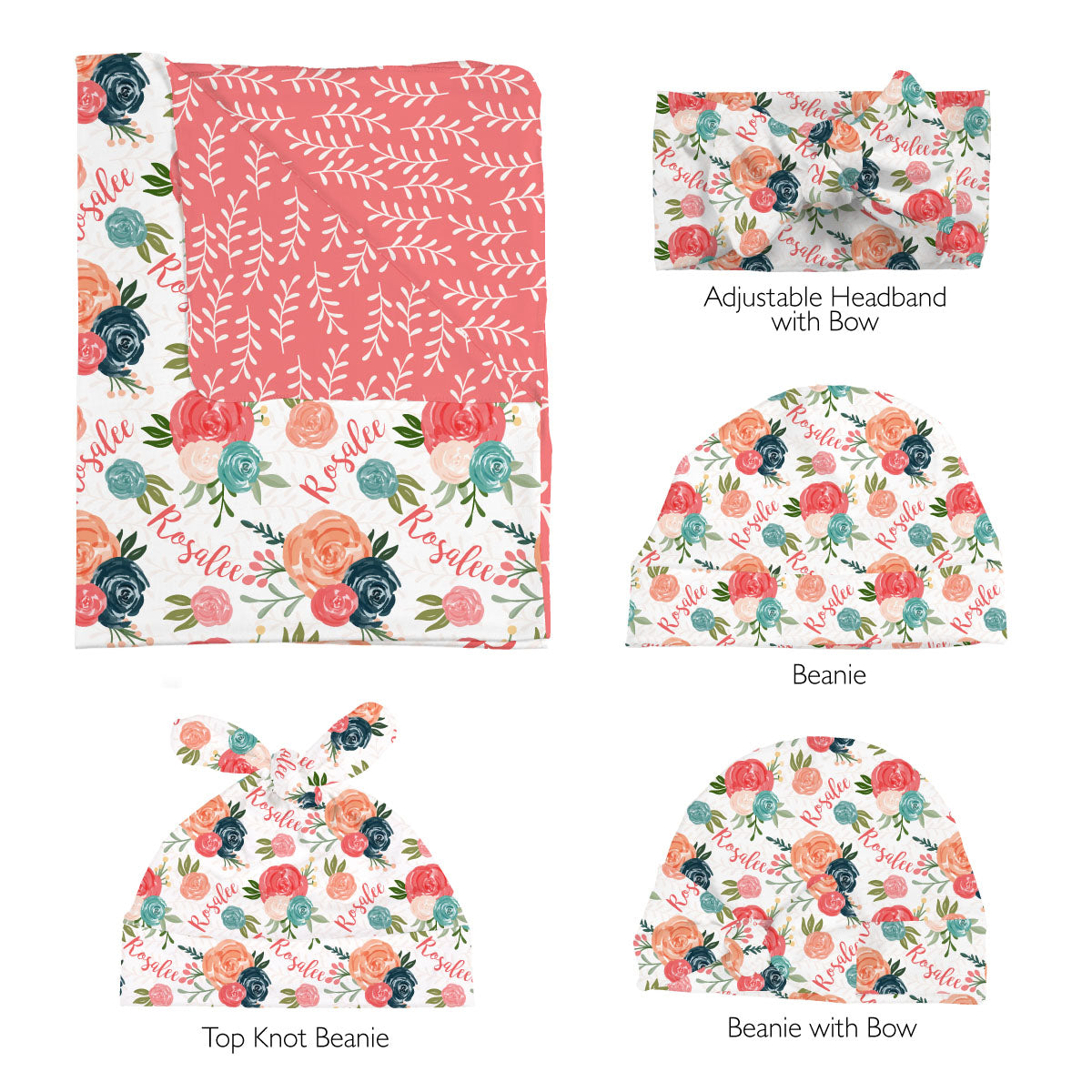 Rosalee's Blush And Blue Floral | Swaddle Set