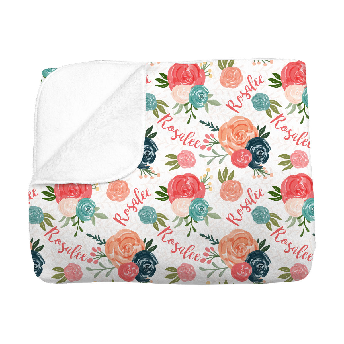 Rosalee's Blush & Blue Floral | Big Kid Blanket