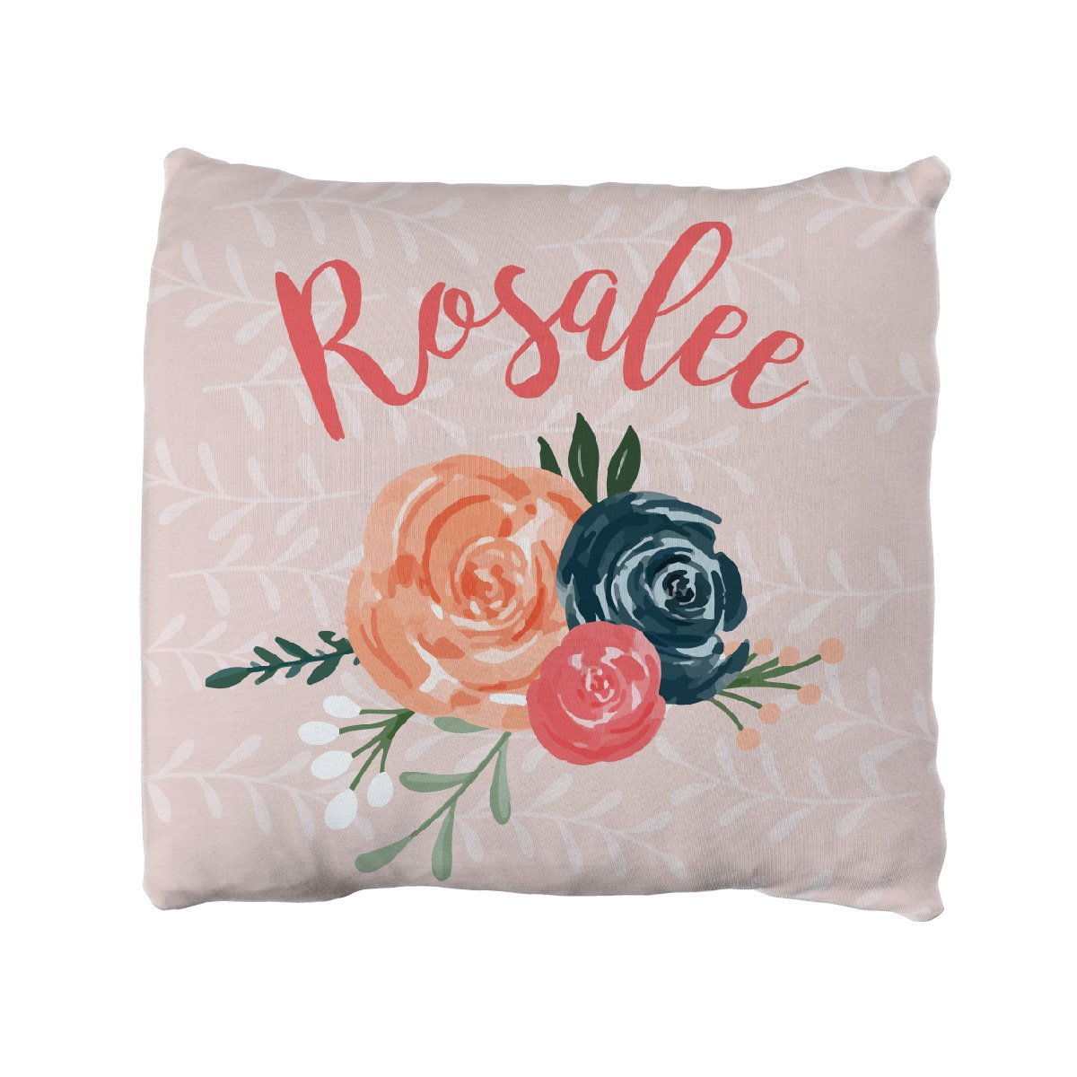 Rosalee's Blush & Blue Floral | Big Kid Throw Pillow
